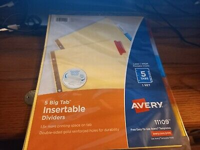 Avery 5-tab Binder Dividers Insertable Multicolor Big Sturdy Reinforced 5 Set