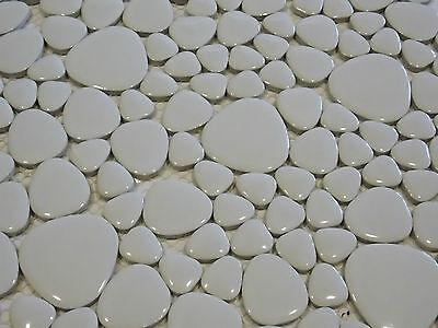 Keramik mosaik fliesen keramikmosaik kiesel kieselstein optik weiss wei dusche ebay - Kieselstein fliesen ...