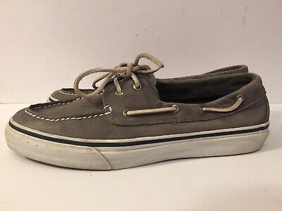 VGC CLEAN Sperry Top Sider Suede Leather Bahama 2 Eye Wash Grey Boat Shoe Grey
