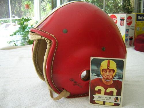 Vintage 50s Football Helmet Charley Justice Washington Redskins With 1954 Card