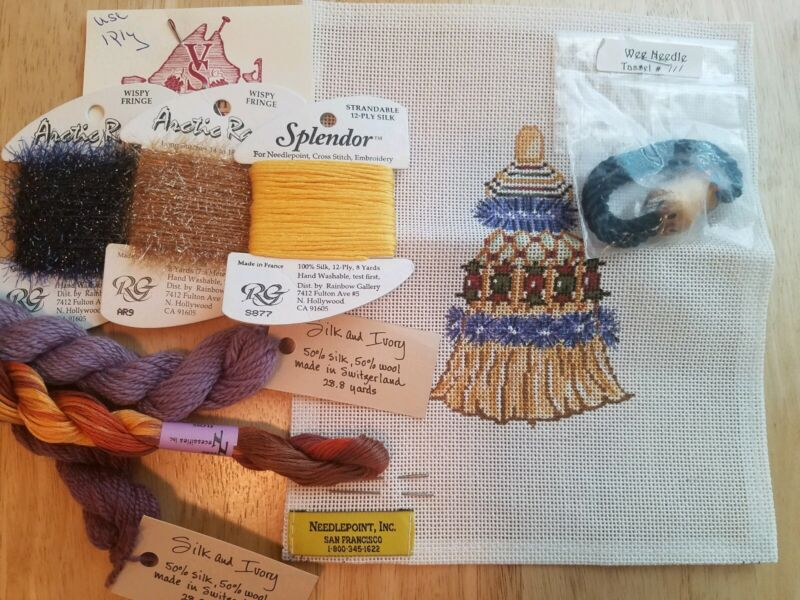 Wee Needle Handpainted Needlepoint Canvas Tassle with Threads, 18m