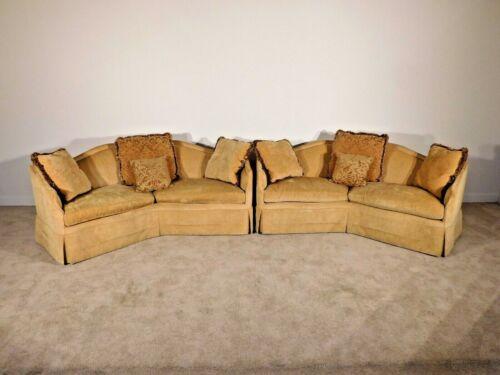 """Massive Custom Apricot Chenille Upholstered Down-filled BAKER Furniture """"V"""" Sofa"""
