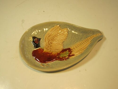 VTG Rosemeade Pottery Rooster Pheasant In Flight Spoon Rest