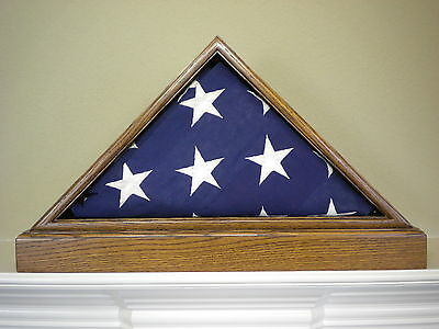 5 X 9 OAK WITH BASE FLAG DISPLAY CASE BOX AMERICAN MILITARY BURIAL FUNERAL (American Oak Base)