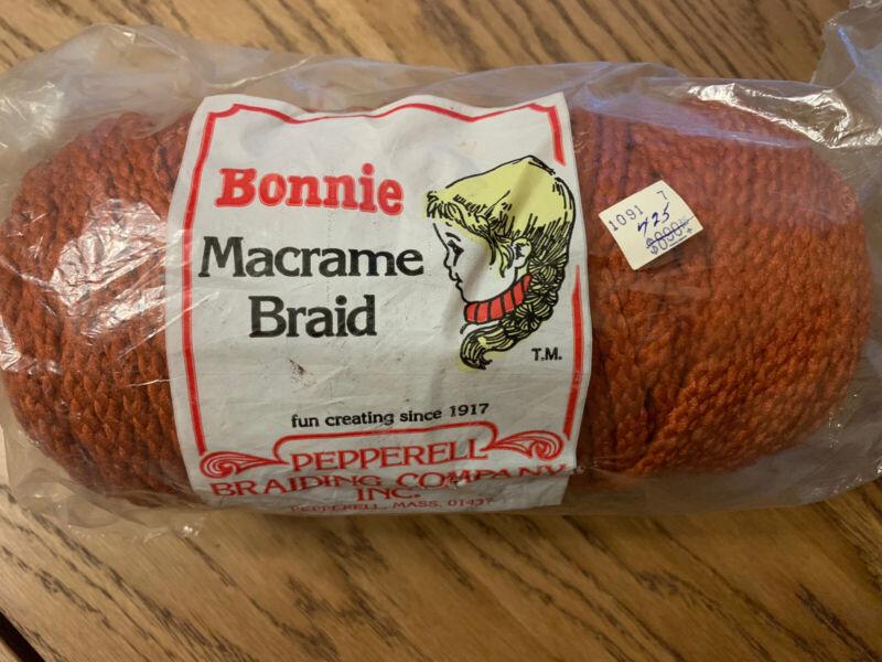 Vintage Spool Braided Macrame Cord 100 yards 6MM New Old Stock NOS Burnt Orange