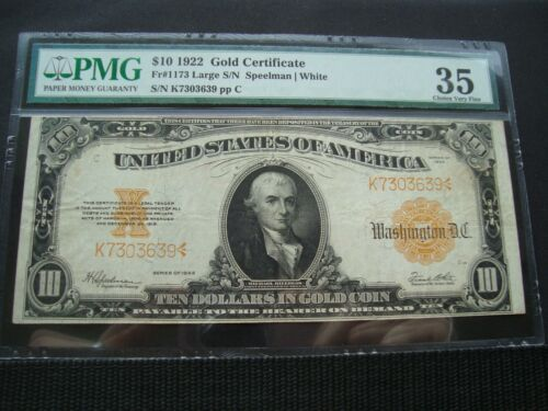 1922 $10 GOLD NOTE  FR#1173 PMG 35