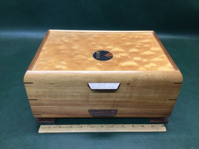 Fine Inlaid Mikutowski Woodworking Wooden Padded Jewelry Box ~Hand Crafted