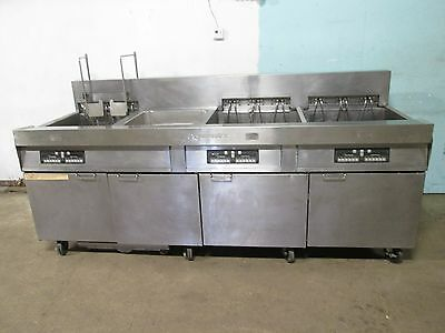"""FRYMASTER"" HD COMMERCIAL 3 BANKS ELECTRIC FRYERS w/AUTO LIFT & FILTRATION UNIT"