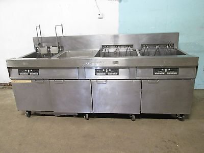 Frymaster Hd Commercial 3 Banks Electric Fryers Wauto Lift Filtration Unit