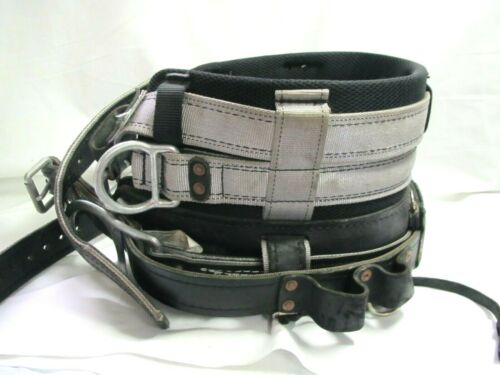 Buckingham Lineman/Tree Climbing Leather 4-D-ring Body Belt Size 26 *Good Shape*