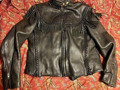 Harley Davidson Willie G Vintage Sz 38 / 10 Black Leather Jacket w/ Fringe - WOW