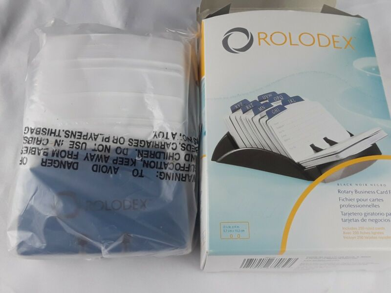 ROLODEX Black Rotary Business Card File with 250 Ruled Cards New 67082
