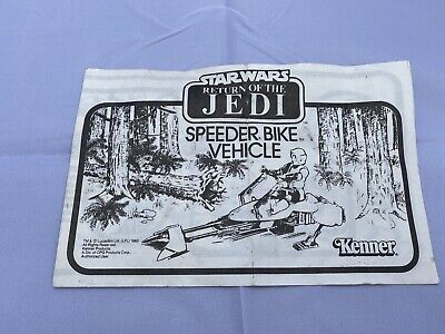 Speeder Bike Instruction Sheet Star Wars ROTJ Kenner Vintage 1983 Original