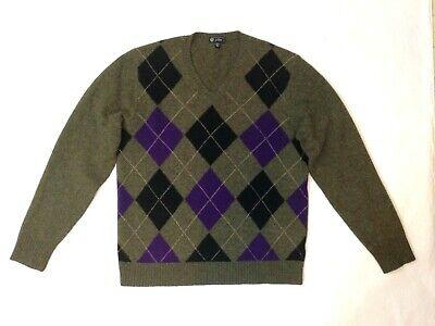 Purple Argyle Sweater (J. Crew Argyle Sweater Mens Large Lambs Wool V Neck Green Purple Black)