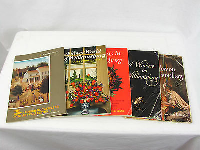Lot of 5 Williamsburg, Virginia Ephemera Colonial Souvenir Books w/ Flowers Art