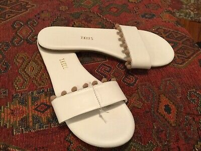 NEW TKees Anthropologie  8819 White Leather Alex Pom-Pom Slides Sz 7~ 38 Euro