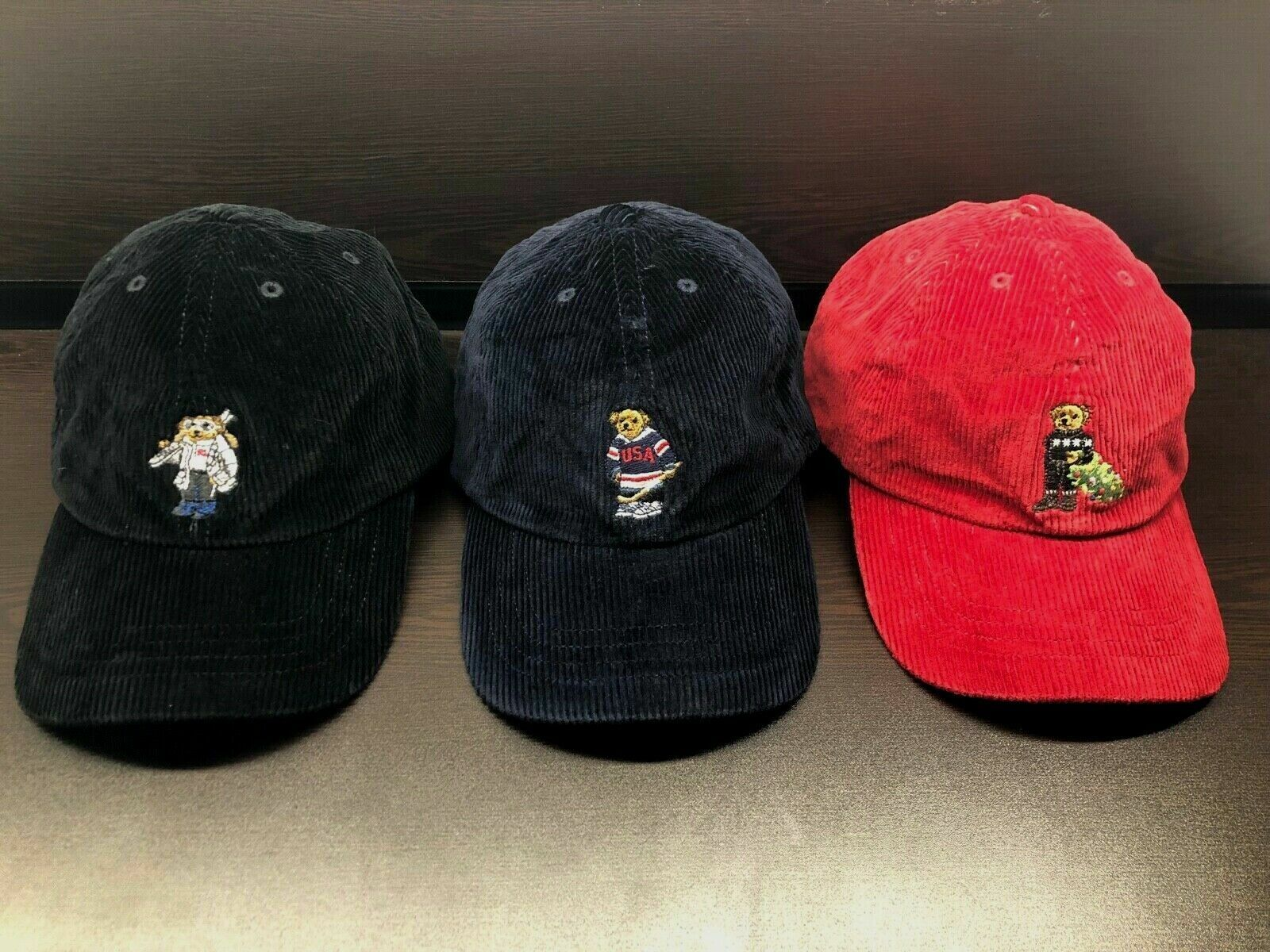 NEW Polo Ralph Lauren Kids Bear HAT Corduroy Boys Hat Cap AL