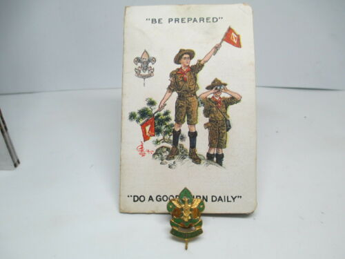 1920 Assistant Scoutmaster Screw Back Collar Pin Plus Card