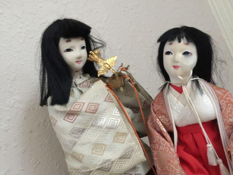 Vintage Japanese Geisha Nylon Dolls Ceremonial Silk Outfits Gems Crown Jewels