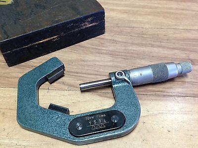 Nice Swiss Tesa V Micrometer Carbide Tipped 1.4 - 2 .0001 3 Flute