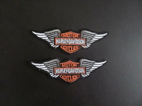 "LOT OF 2-HARLEY-DAVIDSON "" MOTORCYCLES EMBROIDERED IRON ON PATCHES  1-1/4 X 4"