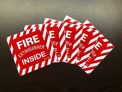 Lot Of 5 Fire Extinguisher Inside Self-adhesive Vinyl Signs...4 X 4 New