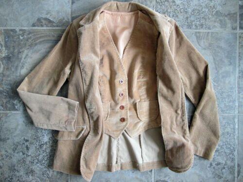 VTG Maybro 9 Suit Jacket Vest Small Corduroy Dress Coat 2-Piece Blazer Buttons