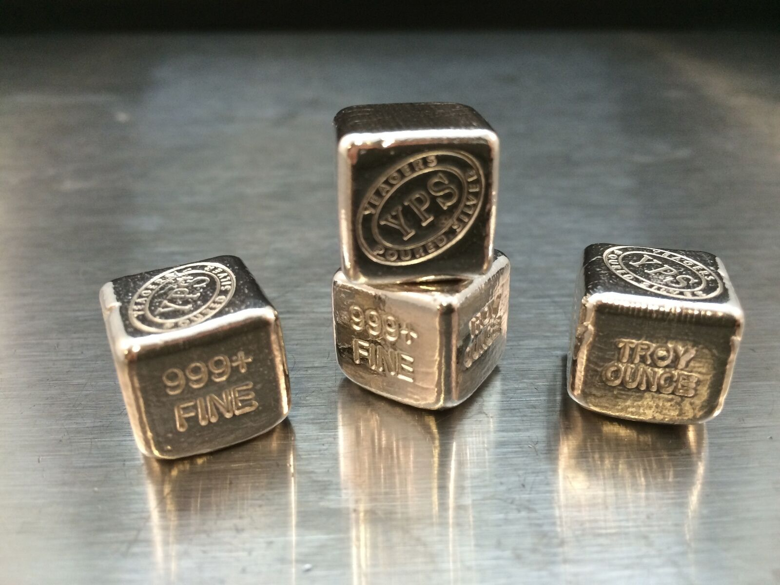 """1 oz Hand Poured 999 Silver Bullion Bar """"Cube"""" by YPS - Yeager's Poured Silver"""