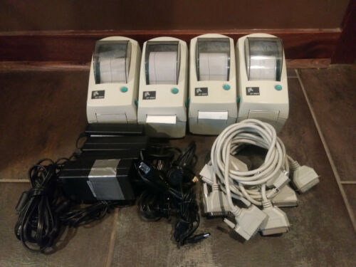 Zebra LP 2824 thermal label printer lot (4) with power supplies & cables