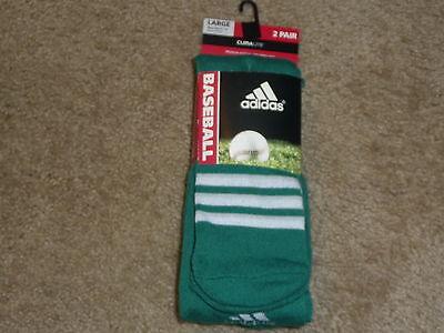 Compression Baseball Socks - 2 PAIRS ADIDAS BASEBALL SOCKS  CLIMALITE CUSHIONED COMPRESSION GREEN LARGE