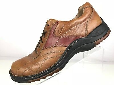 Clarks Casual Oxford - Bicycle Toe Lace Up Two Tone Tan/Red-Brown Men's 9 M