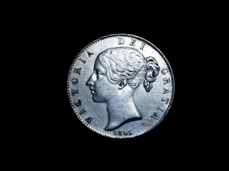 1845 Great Britain Victoria Silver Crown - Rare High Grade