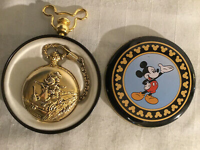 DISNEY GOLD TONE MICKEY MOUSE HANDCAR RAILROAD POCKET WATCH in TIN by VERICHRON