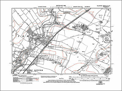 Porton Down, Idmiston, Winterbourne Gunner, old map Wiltshire 1926: 61SW repro