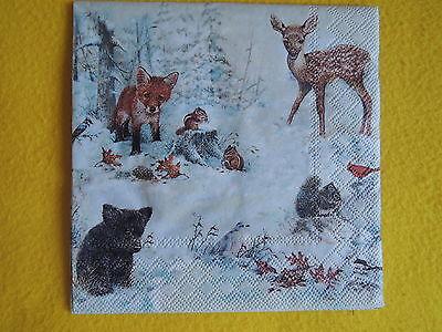 5 stück Servietten Winter Wald Tiere Reh Fuchs Bär Vögel Eichhörnchen Streifenhö
