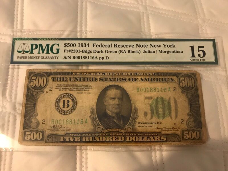 SERIES 1934 $500 FEDERAL RESERVE NOTE NEW YORK FR # 2201 PMG 15