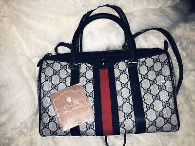 Authentic GUCCI Vintage Web Ophidia Navy Accessory Collection Boston Handbag