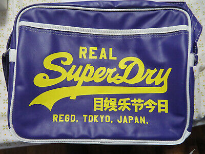 Superdry Messenger Bag Purple & Yellow Faux Leather, Adjustable Strap