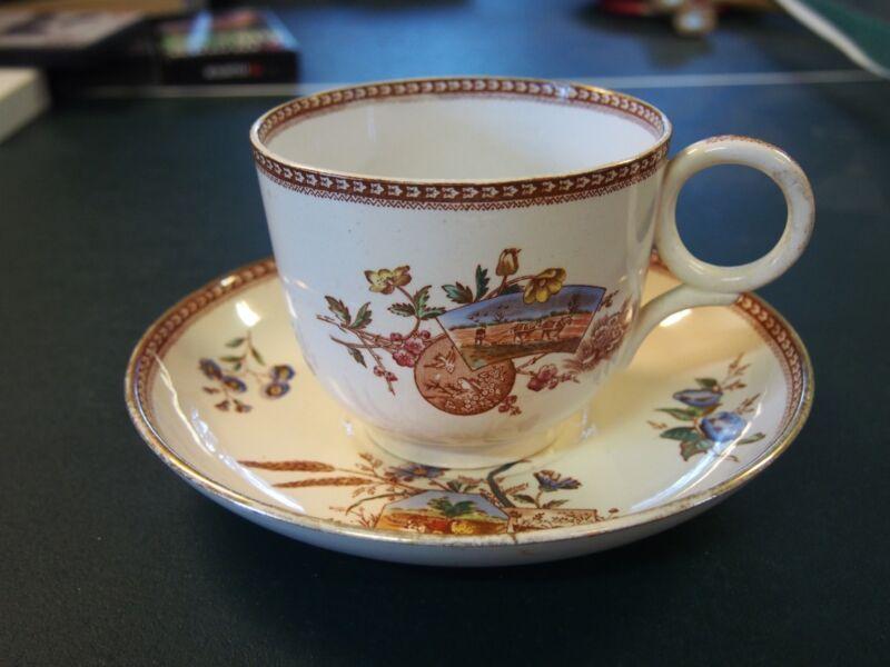 Antique James F Wileman Mammoth Mush Cup/Saucer Seasons Pattern 1866-1892