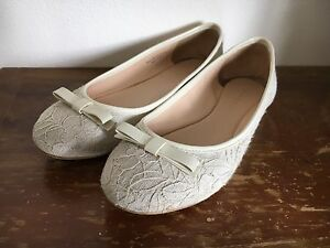 Charles & Keith ribbon & lace ivory flat wedding shoes Lane Cove Lane Cove Area Preview