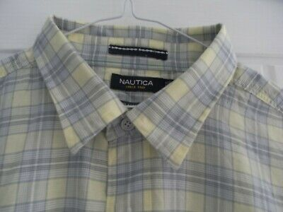 Men's Check Shirt XL by Nautica Yellow/Grey