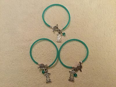 (3) Ovarian Cancer Silicone Bracelets with Teal Bead & Cancer Sucks Charm - Cancer Sucks Bracelets
