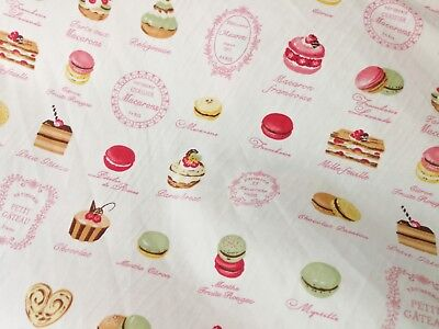 Child Sweet - Quilt Cotton Fabric Child Sweet Bakery Cup Cake Macaroon Fat Quarter Half Yard