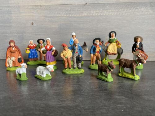 Lot de 12 - santons marcel carbonel - terre cuite peinte À la main - 4 animaux