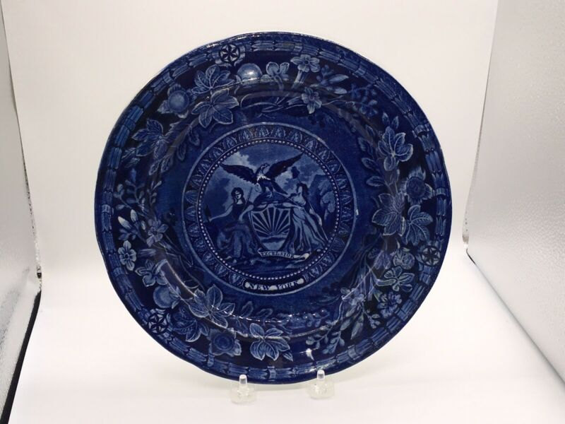 Historical Staffordshire Dinner Plate Arms Of New York By Mayer Ca. 1825