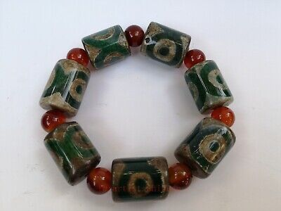 Collection Old Chinese Natural Agate Carved 3 eye Bead Bracelet Hand Chain