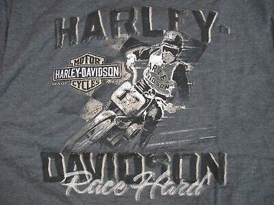 "Harley Davidson T-Shirt Long Branch NJ Gray Short Sleeve XL ""Race Hard"""