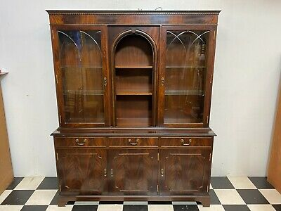 Large antique regency style flame mahogany display cabinet dresser vitrine unit