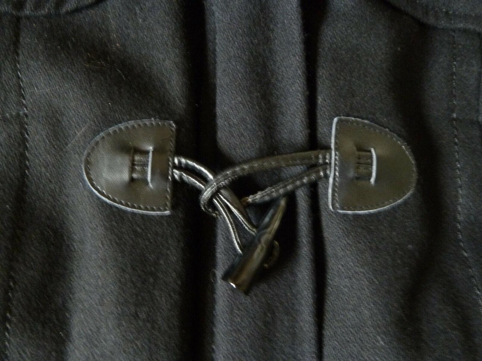 Duffle-coat  laine  noir avec boucles et capuche