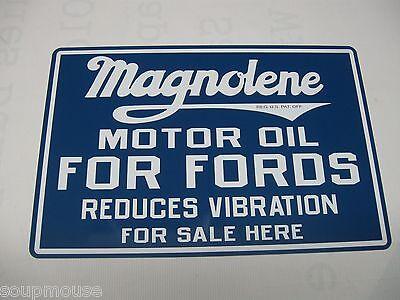 """Vintage, Magnolene, Ford, Motor Oil, Aluminum Metal Sign, 18""""x12"""""""
